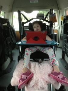 Tilda in the maxi taxi