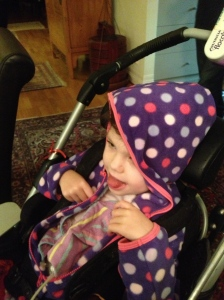 Smiling Tilda in her hoodie
